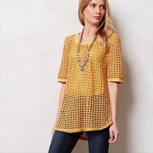 ANTHROPOLOGIE Top Angel of the North Open Stitch